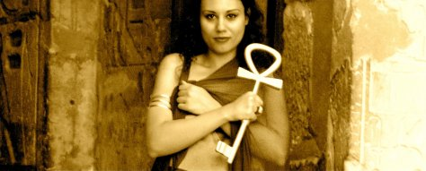 "Susan Elsa holding Original Ancient Egyptian ""Ankh"" at Temple of Nefertiti"