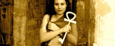 "Susan Elsa holding Original Ancient Egyptian ""Ankh"" at Temple of Nefertiti"